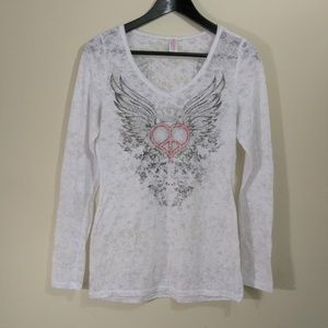 Otomix size XL peace heart angel wings burnout top
